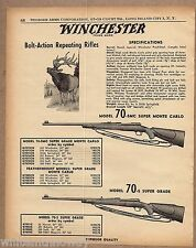 1958 WINCHESTER Model 70-SMC & 70-S AD Bolt Action Repeating RIFLE AD