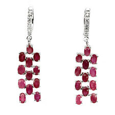 GENUINE 5x3mm.RICH RED PINK RUBY & WHITE CZ STERLING 925 SILVER DANGLE EARRINGS