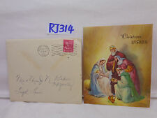 VINTAGE CHRISTMAS CARD+ENVELOPE 1951 50'S MARY & JESUS WITH WISE MEN-GIFTS-WISH