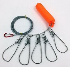 Stainless Steel Fishing Stringer Fish Lock 5 Snap SS Ropes with Float