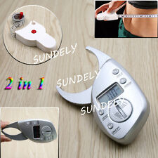 Digital LCD Body Fat Calipers Skin Fold Fitness Weight Loss Free Tape Measure UK