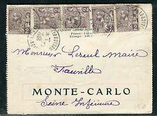 Monaco - Carte lettre illustrée pour Fauville en Caux en 1913  D27