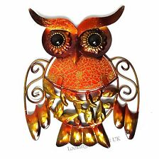 OWL BROWN Metal & Glittered Glass small Wall Art for Indoor or Outdoor use