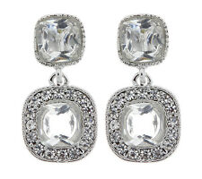 CLIP ON EARRINGS - silver earring with two clear stones & crystals - Mara