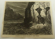 1878 magazine engraving ~ TWO MEN TRY TO ESCAPE RISING TORRENT