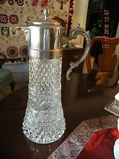 Vintage ABP Lead Crystal and Silverplate Large Claret Carafe / Decanter