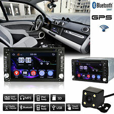 HD Touch Screen Double 2 DIN Car GPS Stereo DVD Player Bluetooth Radio+Camera
