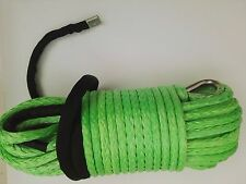 Green1/2inch*150ft ATV Winch Line,Synthetic Winch Rope with Thimble,Kevlar Cable