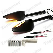 Motorcycle LED Turn Signal CNC Rear View Side Mirrors For Honda Kawasaki Suzuki