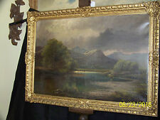 Francis S.Muschamp LIsted Artist c1881 Original Oil On Canvas Landscape Painting