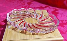 """Vintage MIKASA Oval Peppermint Red Swirl Glass Platter Candy Stripe Dish 9 1/4"""""""