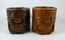 Vintage Pair of Polynesian Wooden Carved Tiki Mugs