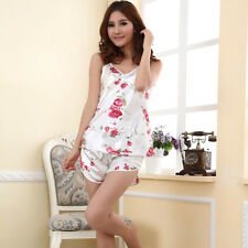 Summer Women's Sexy Satin Pyjamas Nightgown Sleepwear Smooth Silk Pajamas Set