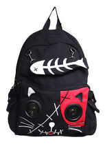Black And Red Kitty Speakers Plug & Play Music BagPack By Banned Apparel