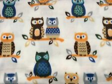 "Colorful Owls animal print on white fleece fabric, 60"" by 34.5"""