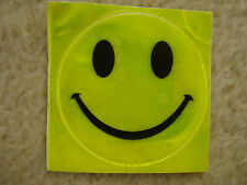 NEW 4 x SAFETY HI VIZ FLUORESCENT LUMINOUS ADHESIVE HAPPY SMILEY FACE BADGES
