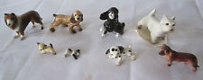 HAGEN RENAKER Porcelain 8 Miniature Figures DOGS Lot w/Stickers-shepard,Collie