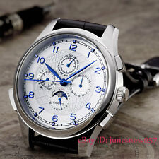Parnis 44mm white dial Blue hands Moon Multifunction Automatic men's watch 124