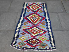 Kilim Rug Old Traditional Hand Made Persian Oriental Kilim Wool Blue 145x80cm