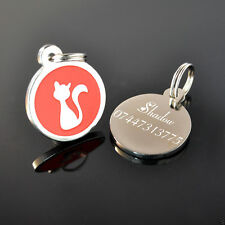Personalised Round Metal Red Cat Pet ID Tags Disc Engraved Free