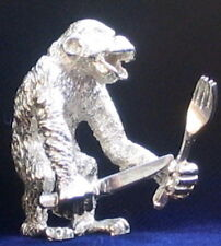 PLAYFUL MINIATURE STERLING SILVER MONKEY FIGURINE NEW