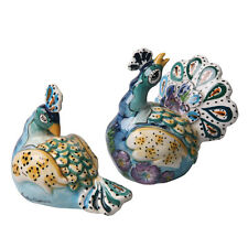 Blue Peacock Serveware - Hand Painted Ceramic Salt & Pepper Shaker Set