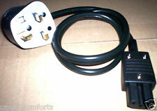 3M XBOX 360 POWER LEAD,UK 3 PIN PLUG TO IEC C15 HOT TV PS MAINS CABLE,REWIREABLE