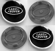 4 x Land Rover Aluminium Black Alloy Wheel Centre Cap 63mm Discovery Defender