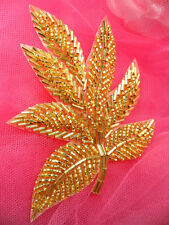 FS140 Fall Leaf Applique Gold Beaded Sewing Motif Patch 4""