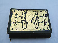 Egyptian Leather Women Lady Black Clutch Wallet Purse Card Holder Nefertiti 2004