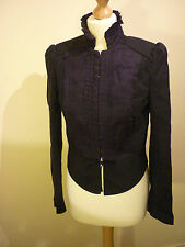 FITTED VICTORIAN REGENCY MILITARY HIGH FRILL NECK RIDING JACKET COAT ZARA MEDIUM