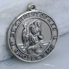 Vintage Sterling Silver - CREED St Christopher Protection Medal 9g - Pendant