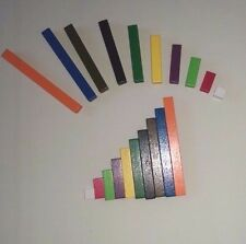 Cuisenaire type wooden rods  (NEW 74 rods for maths teaching/learning bar model)