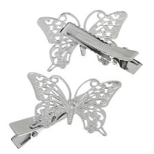 2pcs Silver hollow butterfly hair clips barrette jewellery BNWT