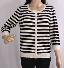 H&M Basic Striped Cardigan Sweater Thin Knit Black Gray 3/4 Sleeve Button Down M
