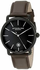 Stuhrling Original 768 03 Swiss Quartz Date Brown Leather Strap Mens Watch