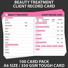 Posh Panda Beauty Client Record Card Treatment Consultation Cards A6 - 100 Pack