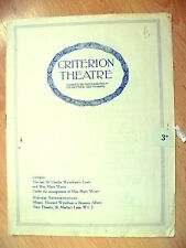 Criterion Theatre Programme-M Moore & S Thorndike's ADVERTISING APRIL~H Farjeon