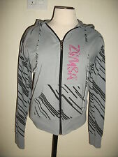 Zumba Feel the Music Gray Black Pink Zip Front Hoodie Sweat Jacket Fitness Dance