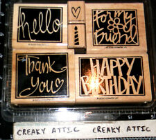 STAMPIN UP VIVID GREETINGS 6 RUBBER STAMPS BIRTHDAY THANKS HELLO