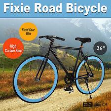 """26"""" Zoll Single speed Fixie Fahrrad Bike Fixed Gear Rennrad FITNESSBIKE Blau"""