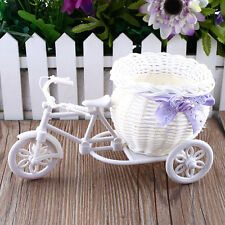 White Tricycle Bike Design Flower Basket Storage Container Plant Party