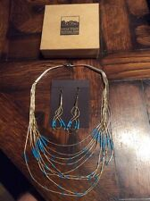 Native American Sterling Quick Silver NECKLACE & Earrings Set * Mesa Verde Park