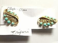 Jewels of India turquoise colored clip Earrings Trifari Co Alfred Philippe 1965