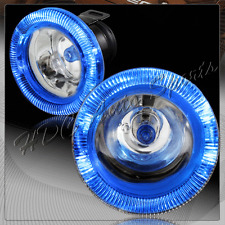 "3"" Round Blue Halo Chrome / Clear Glass Lens Fog Driving Lights Lamp Universal 2"