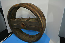 "Antique 24"" wood flat belt pulley. Farm Tractor Steam Punk, Wall Decoration"