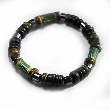Surfer Beach Street Bracelet Green Bead With Black Wooden Beads High Quality