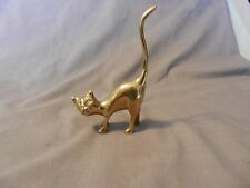Vintage Brass Cat With Long Tail Figurine Ring Holder (M)