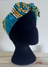 Turquoise yellow African Wax Print Headscarf Bandanna Head wrap hair turban