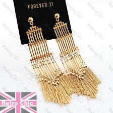 "4.5"" long HUGE PAGODA FRINGE GOLD PLATED EARRINGS multi chains FACETED BEADS"